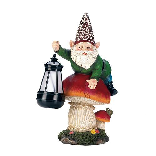 *18235U - Gnome On Mushroom Solar LED Lantern Garden Statue