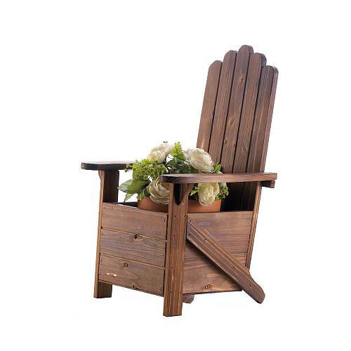 *18255U - Brown Fir Wood Adirondack Chair Planter