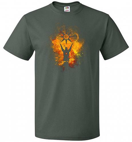 Praise The Sun Art Unisex T-Shirt Pop Culture Graphic Tee (2XL/Forest Green) Humor Fu