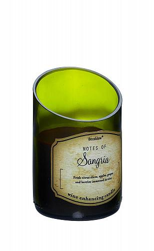 :10813U - Green Glass Wine Bottle Sangria Scented Candle
