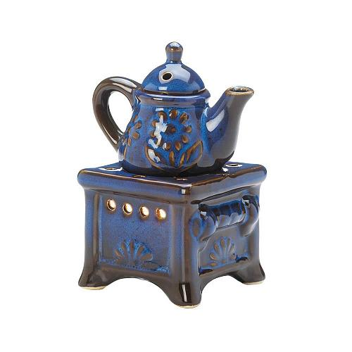 *17714U - Teapot Stove Blue Porcelain Tea Light Oil Warmer 2pc