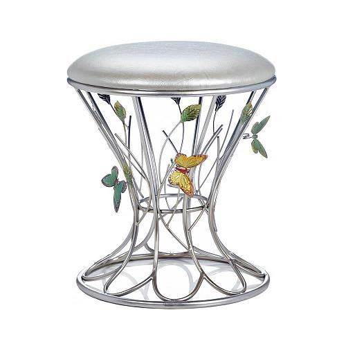 *18162U - Butterfly Wonder Silver Iron Sculpture Frame Padded Foot Stool