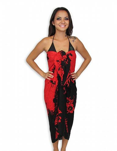 Tropical Pareo Sarong - Red Hibiscus #KMI-7002 w/ Coconut Tie Accessory