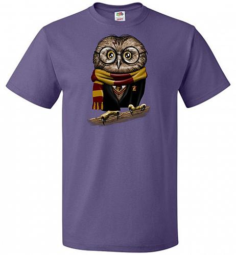 Owly Potter Unisex T-Shirt Pop Culture Graphic Tee (S/Purple) Humor Funny Nerdy Geeky