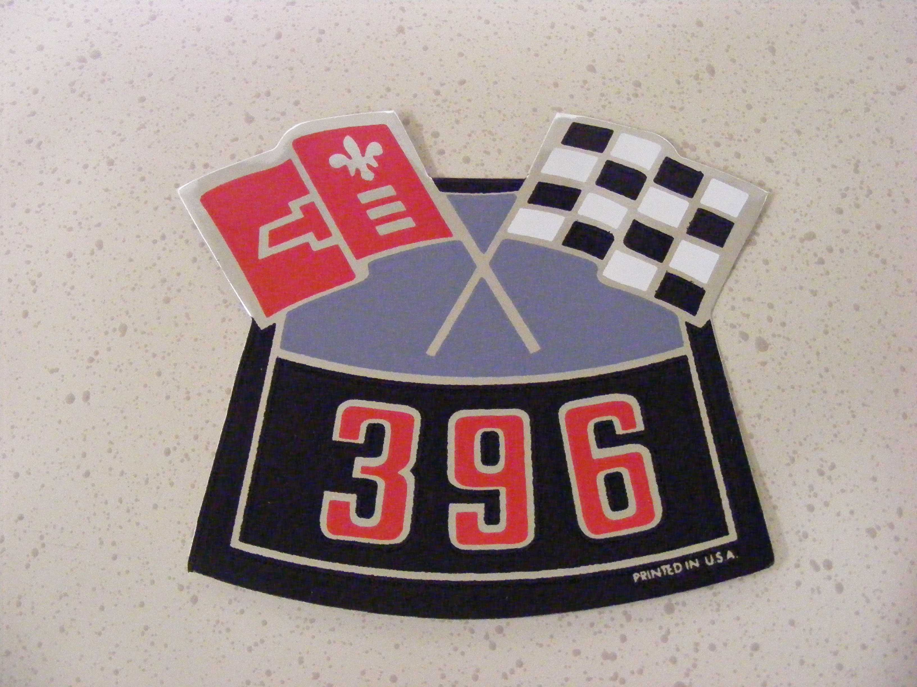396 Chevy Air Cleaner Cross Flag Decal Camaro Vette