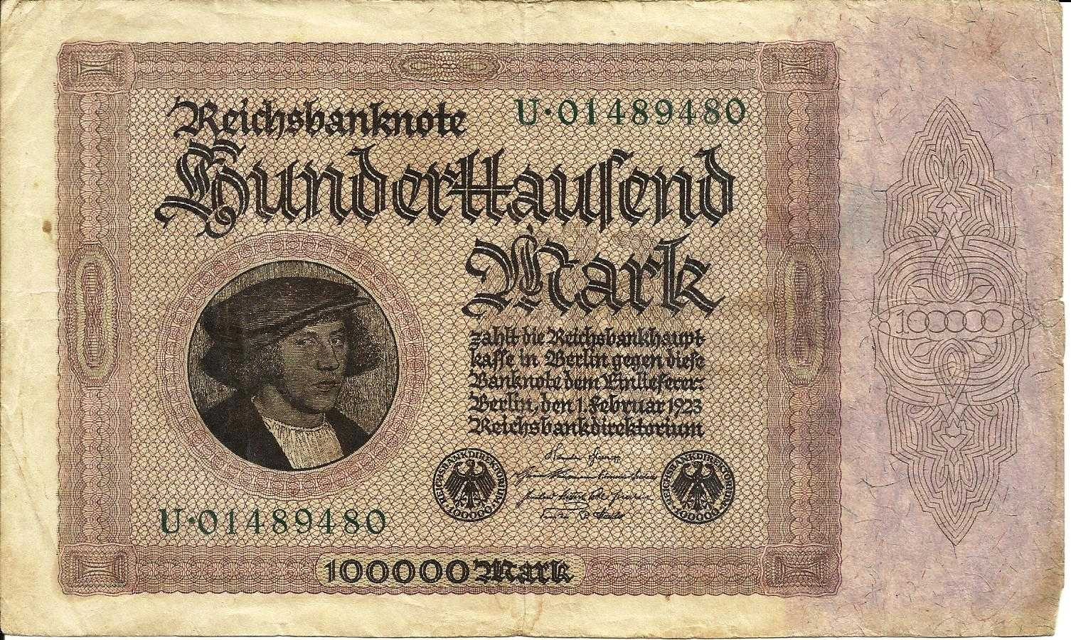 Germany 100 000 Mark 1923 Banknote 01489480 Pick 83a For