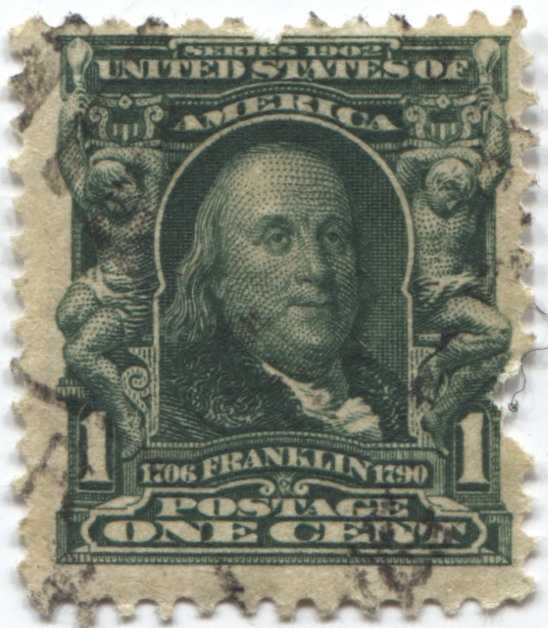1903 1c One Cent Ben Franklin Series 1902 Used Us Postage Stamp Good For Sale Item 11343