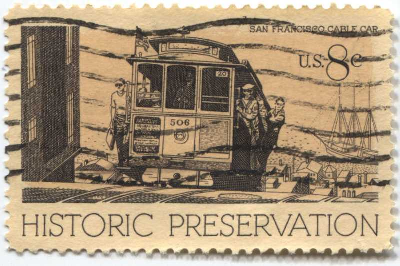 1971 8 San Francisco Cable Cars Historic Preservation Issue Good Used 11365 on Historic Preservation Stamp 1971