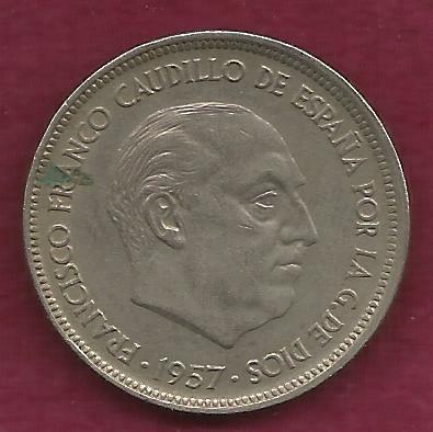 1957 spanish 50 ptas coin