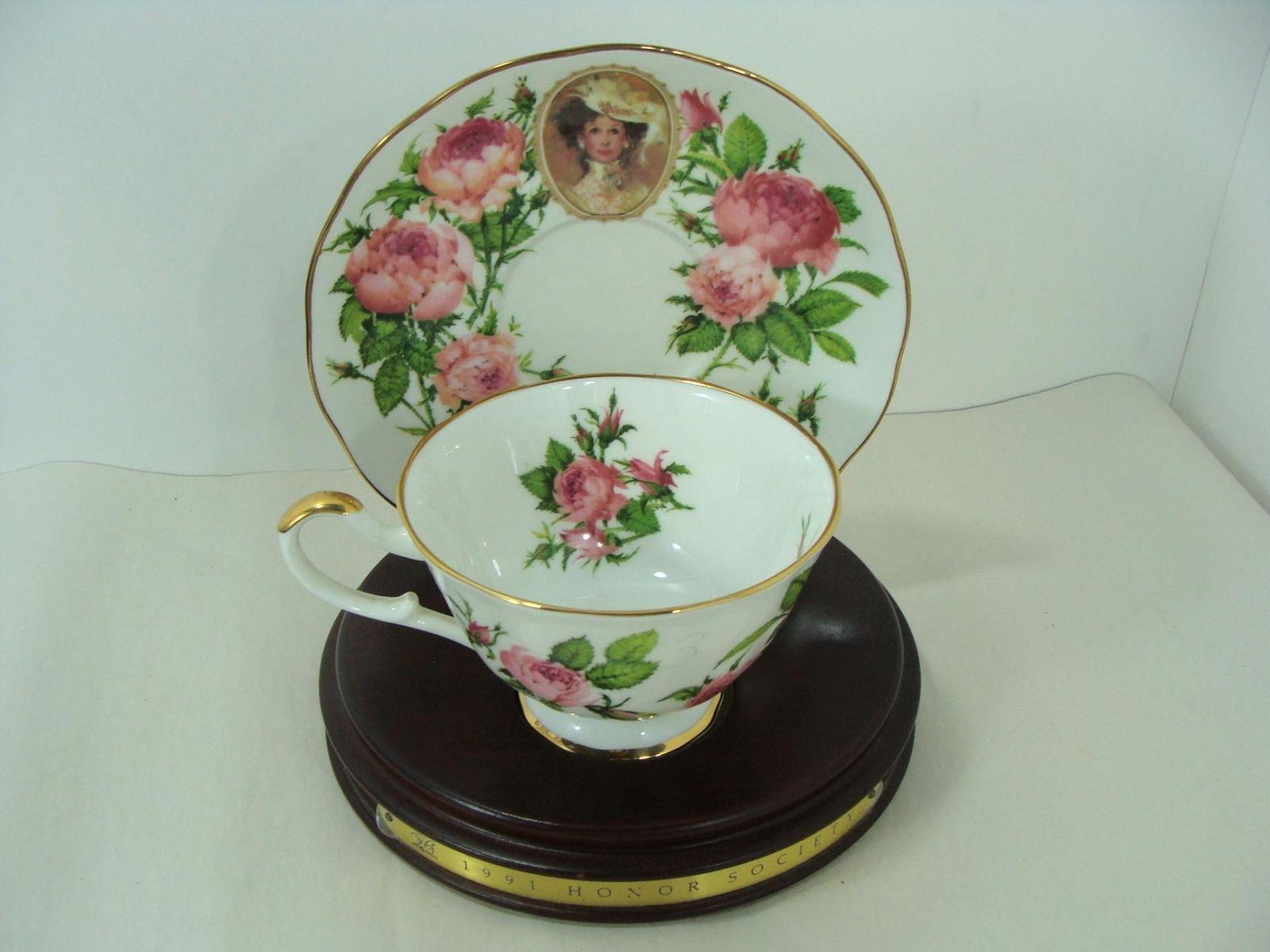 1991 Avon Mrs Albee Honor Society Unique Cup Saucer With Wood Stand Gorgeous