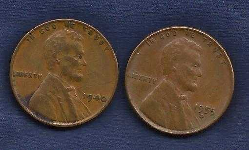 US Wheat Set Two Pennies 1940 (WWII Era), 1955D -Fill in the gaps in your  collection!