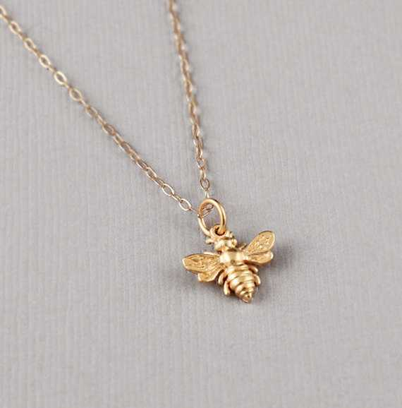 50556285f365df Bumblebee Necklace - 24K Gold Dipped Honey Bee Pendant . Gift Ideas for Her,  Fri