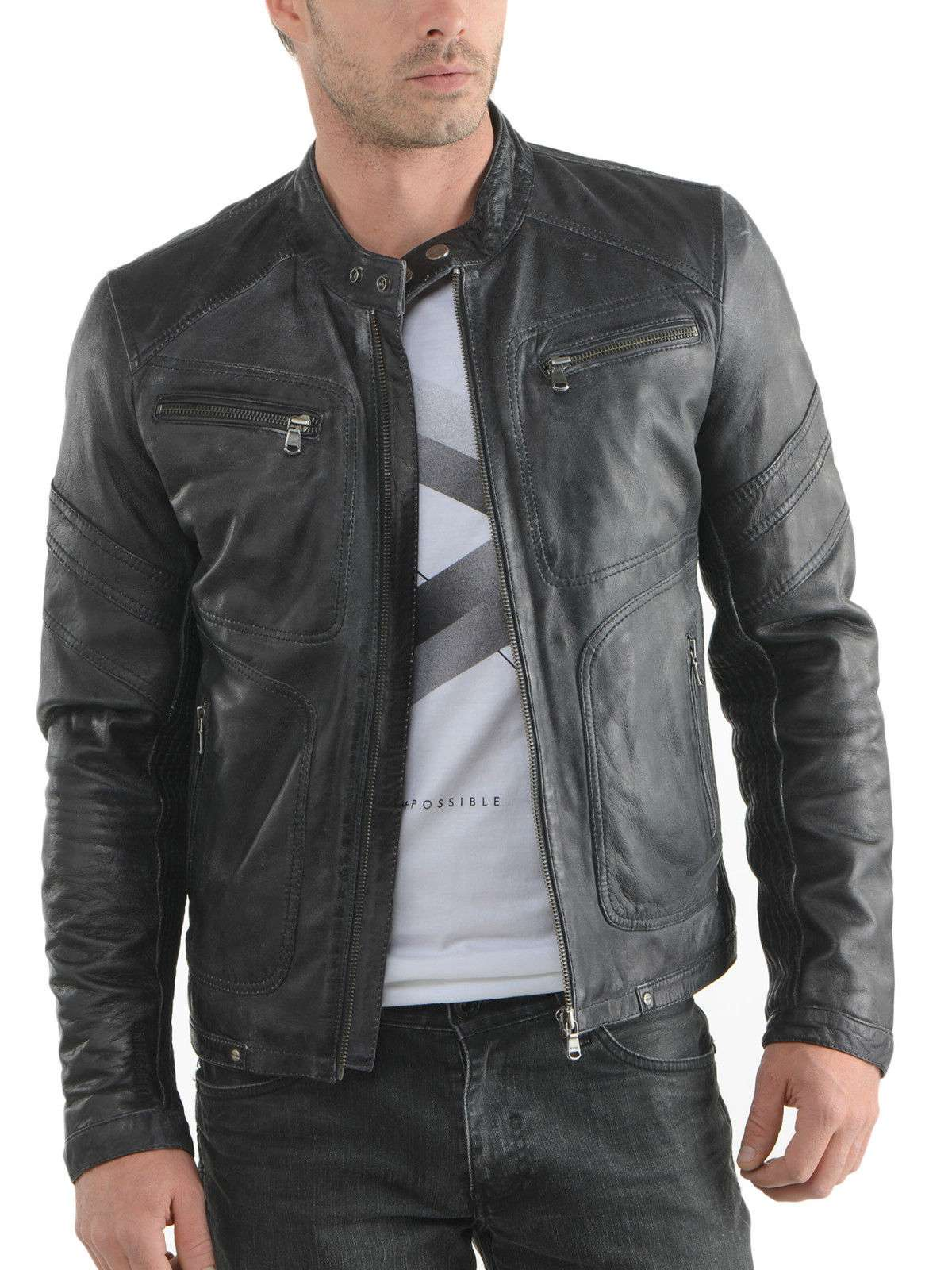 Mens real leather jacket sale