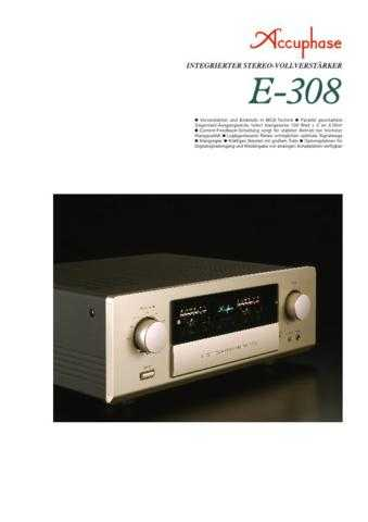 accuphase e 308 de manual by download mauritron 229450 for sale rh unisquare com Accuphase E202 Accuphase A50