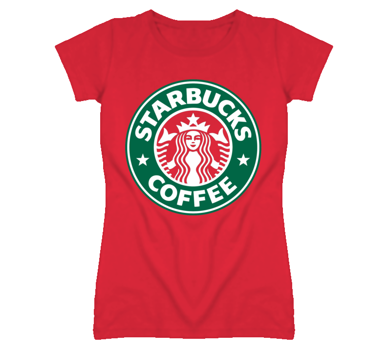 Starbucks logo custom red ladies fitted t shirt for sale for Custom t shirts for sale