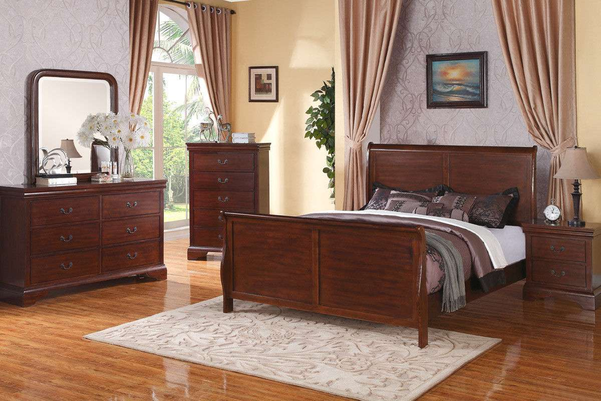 Traditional Beds 4pc Queen King Bed Set Bedroom Furniture In Louis Phillipe Styl For Sale Item