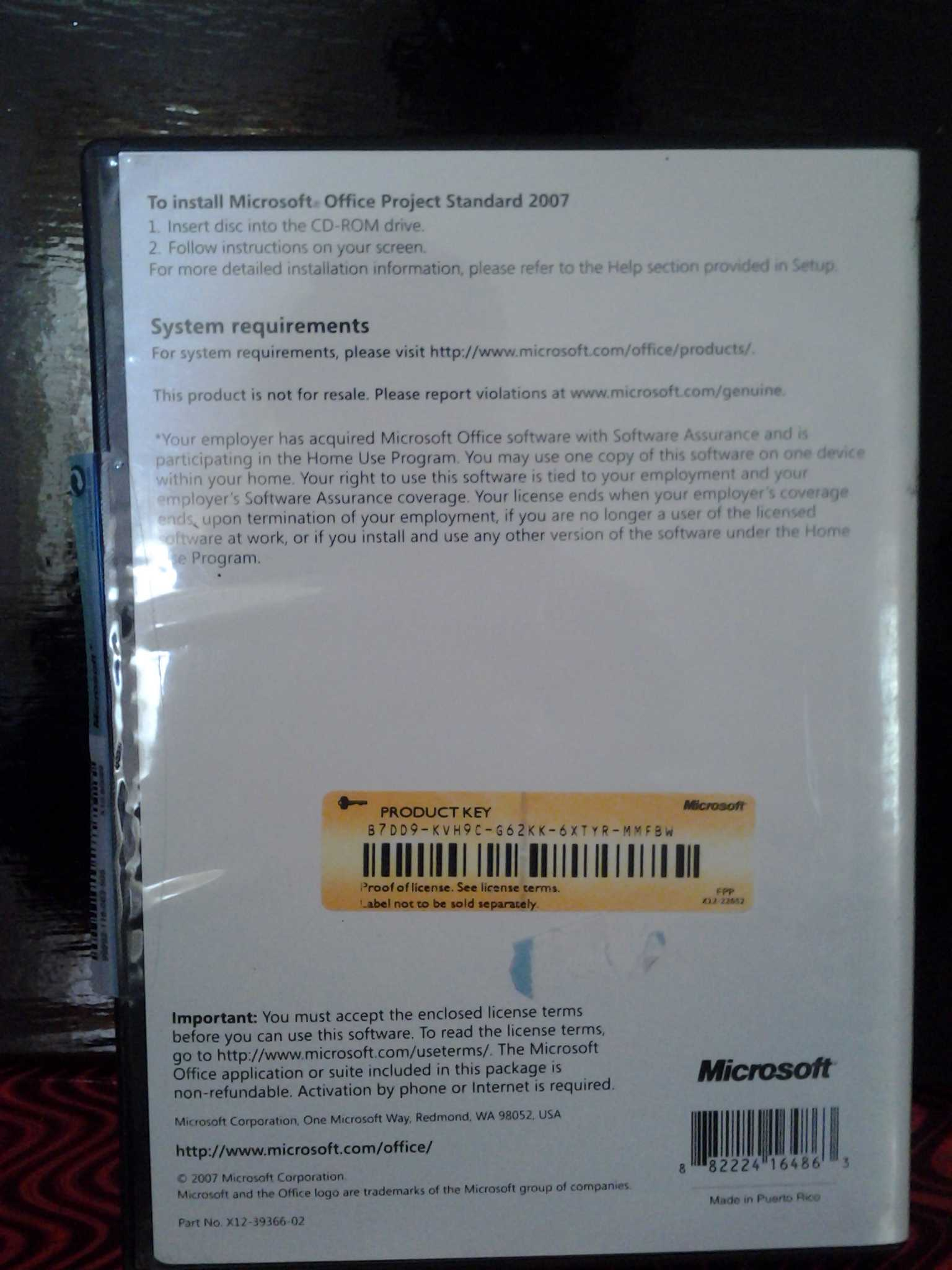 Microsoft Office Project Standard 2007 Open Valid Product