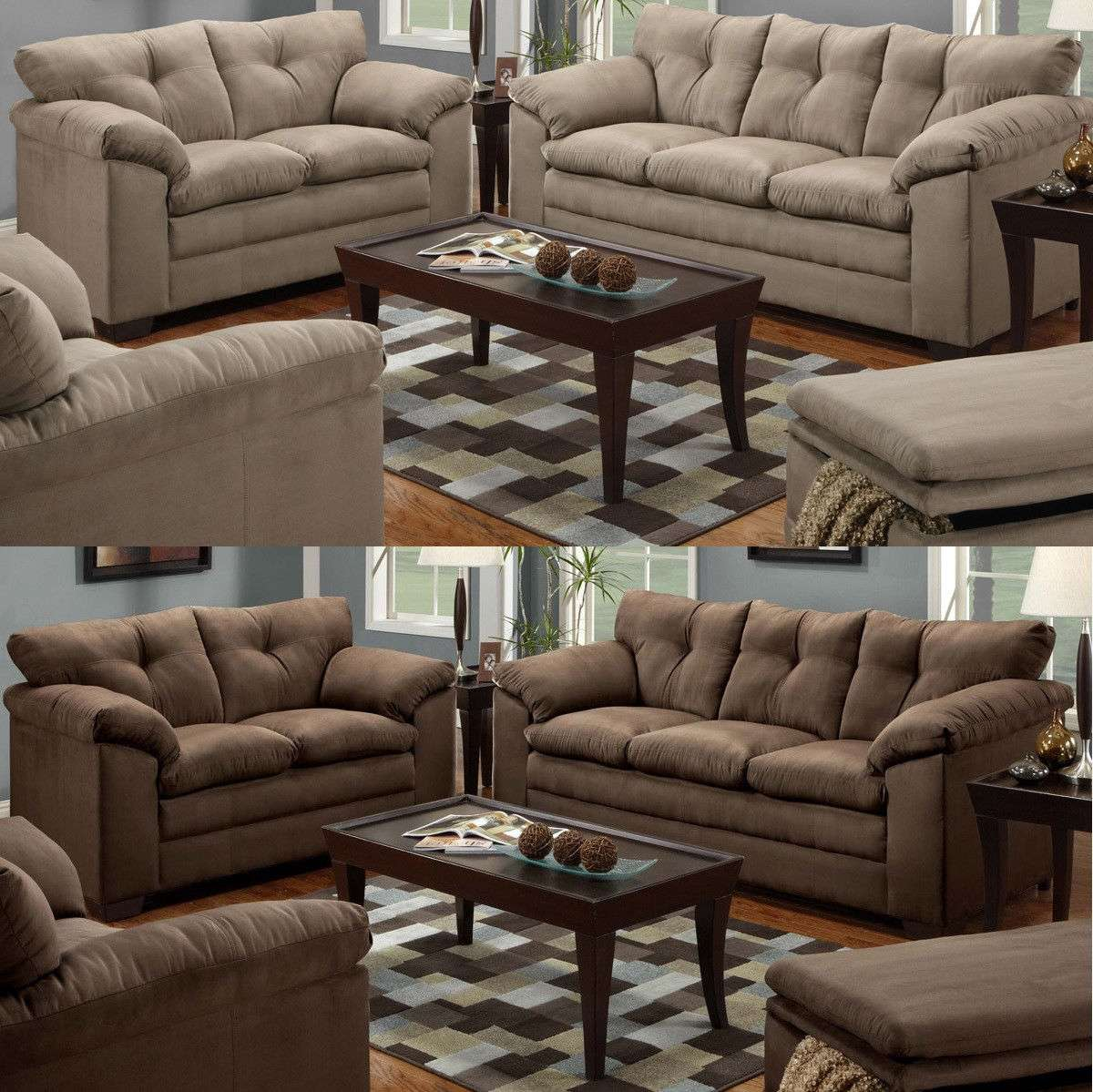 Sofa Loveseat 2 Piece Living Room Set Microfiber Sofa