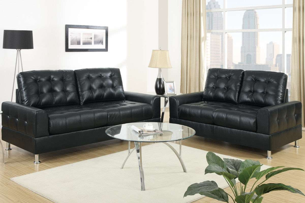 Sofa couch in black love leather sofa set 2 piece living for 2 piece furniture set