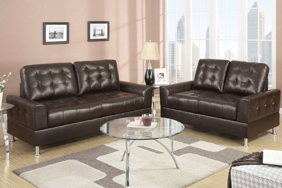Sofa Couch In Black Love Leather Sofa Set 2 Piece Living