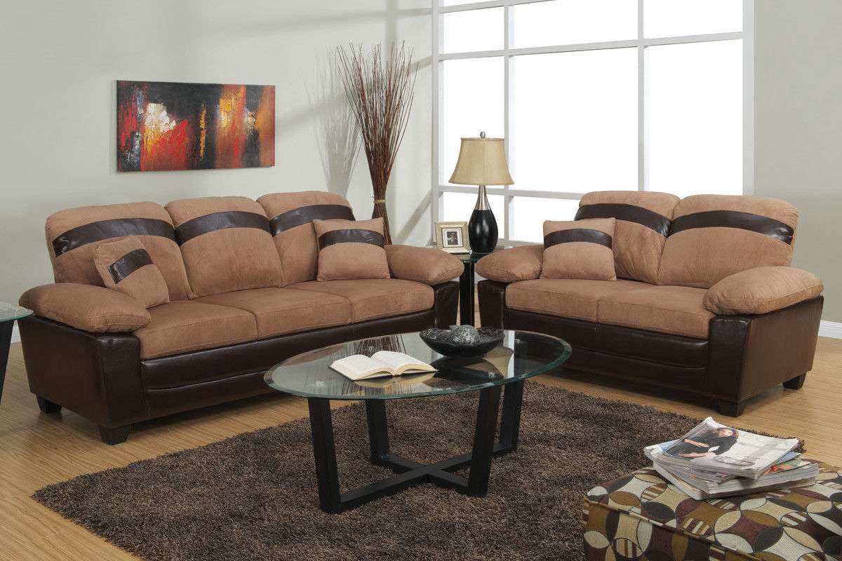 Sofa Set Sofa Furniture Microfiber Sofa Couch 2 Pc Living