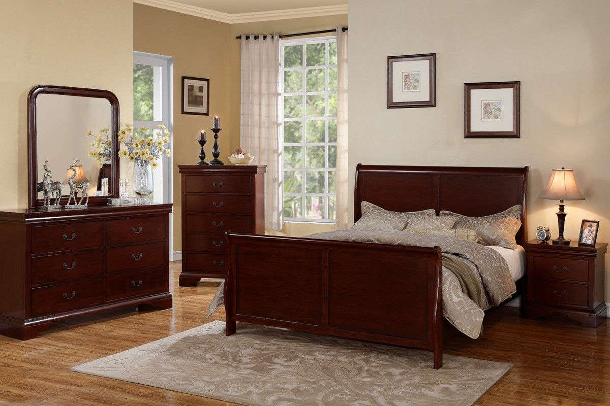 Cherry Wood Bed Frame Bedroom Furniture 4 Pc Beds Dresser Queen King Bedroom Set For Sale Item