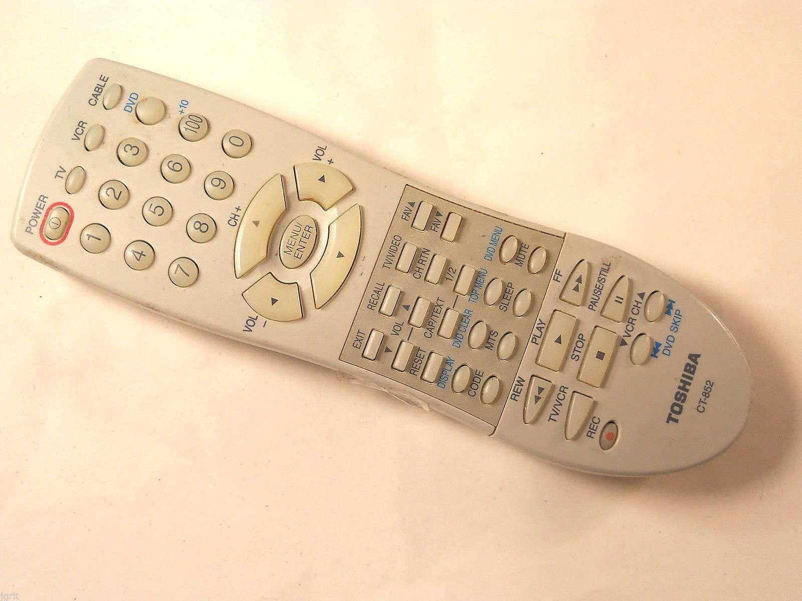 TOSHIBA CT-852 Remote Control 27A43 27A43C 27A44 27A45 27A45C 27A46 TV VCR  ct852