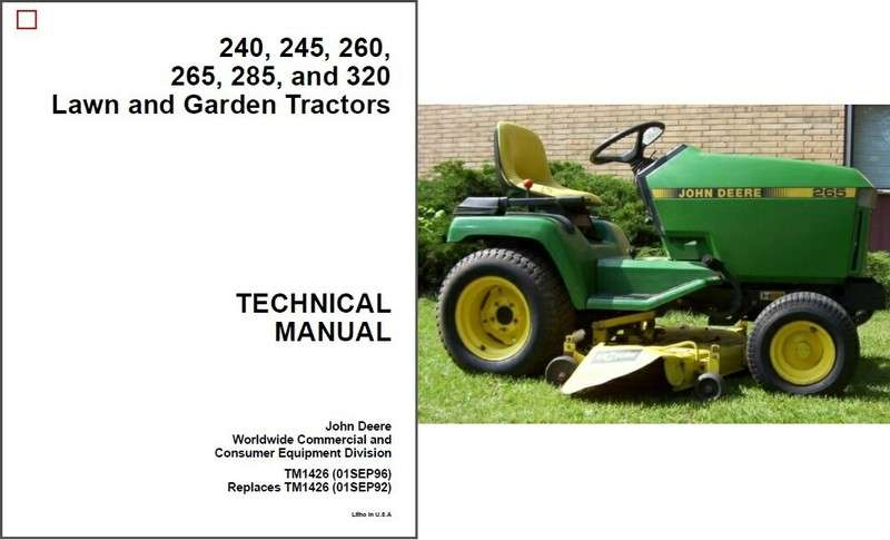 john deere 240 245 260 265 285 320 lawn garden tractor service repair manual  cd for sale - item #1060971