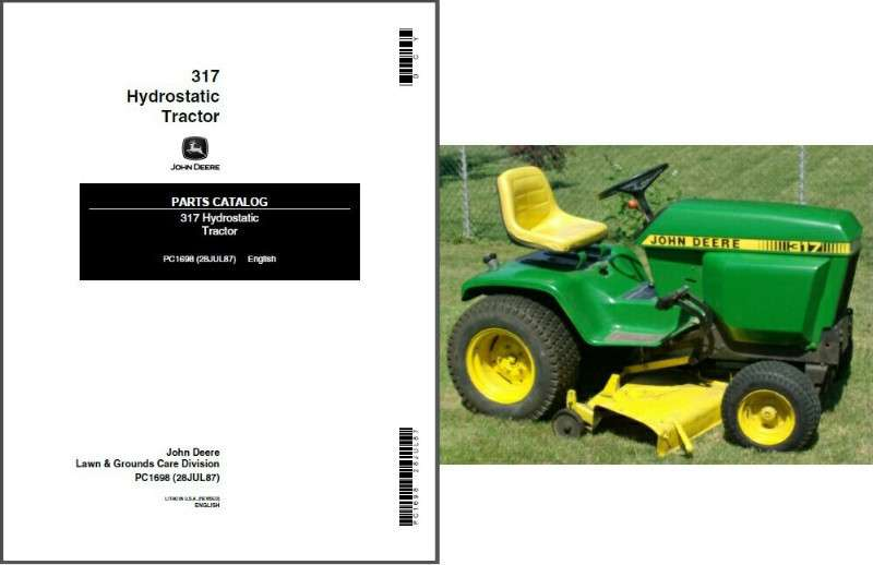 John Deere 317 Hydrostatic Lawn Garden Tractor Parts Manual Cd