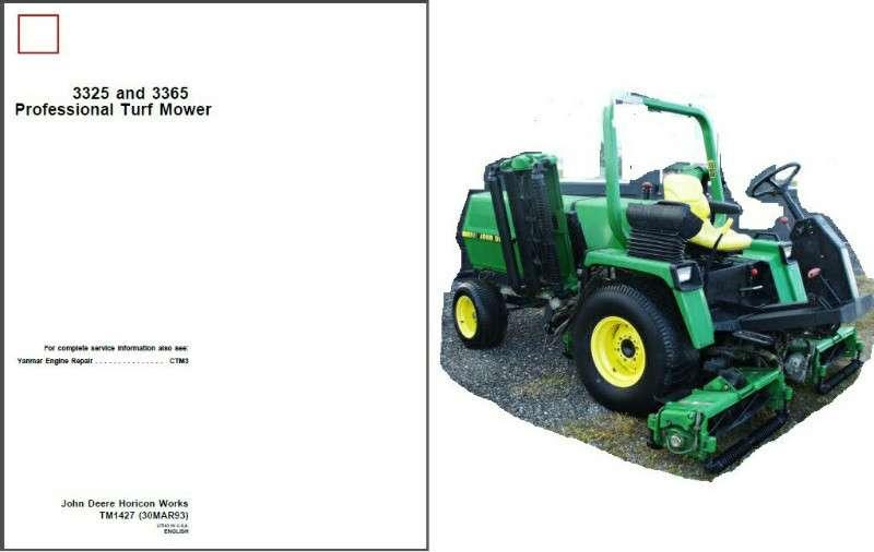 John Deere 3325 And 3365 Professional Reel Turf Mower Service Repair Manual Cd