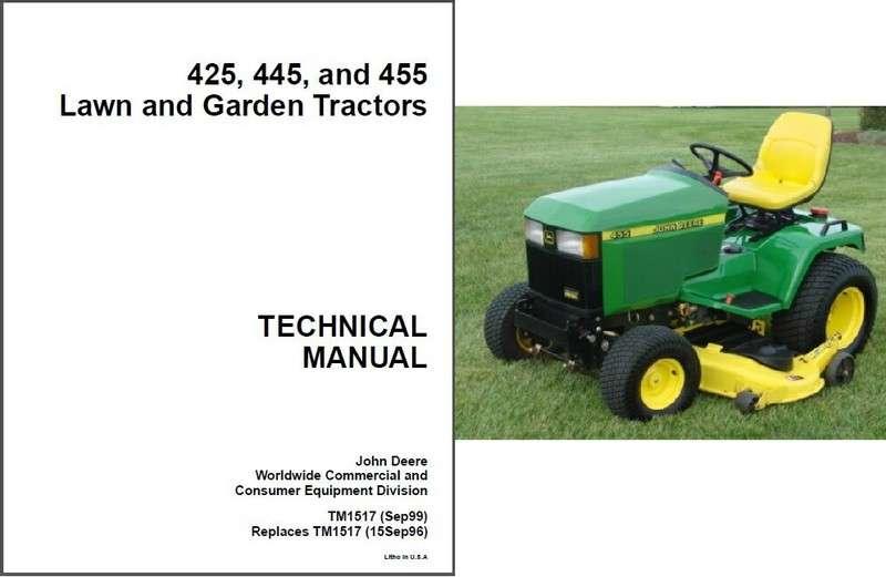 John Deere 425 445 455 Lawn Garden Tractor Service Repair Manual Guide