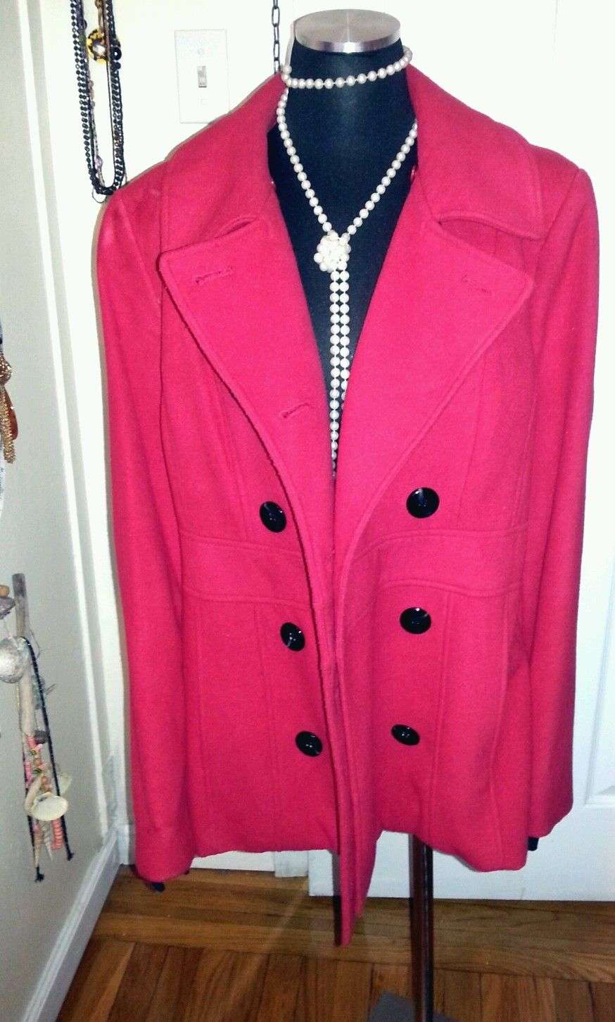 casual womens light red stretch jacket with hood button