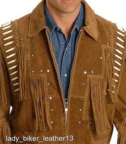 Mens Biker Braided Boned Brown Suede Leather Western Fringe