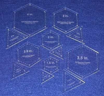 Quilt templates 12 piece set hexagon equilateral for Quilting hexagon templates free