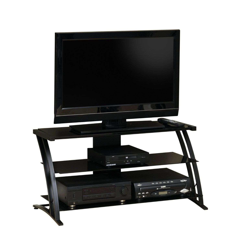 tv stand entertainment media center modern 42 39 inch flat panel lcd black glass for sale item. Black Bedroom Furniture Sets. Home Design Ideas