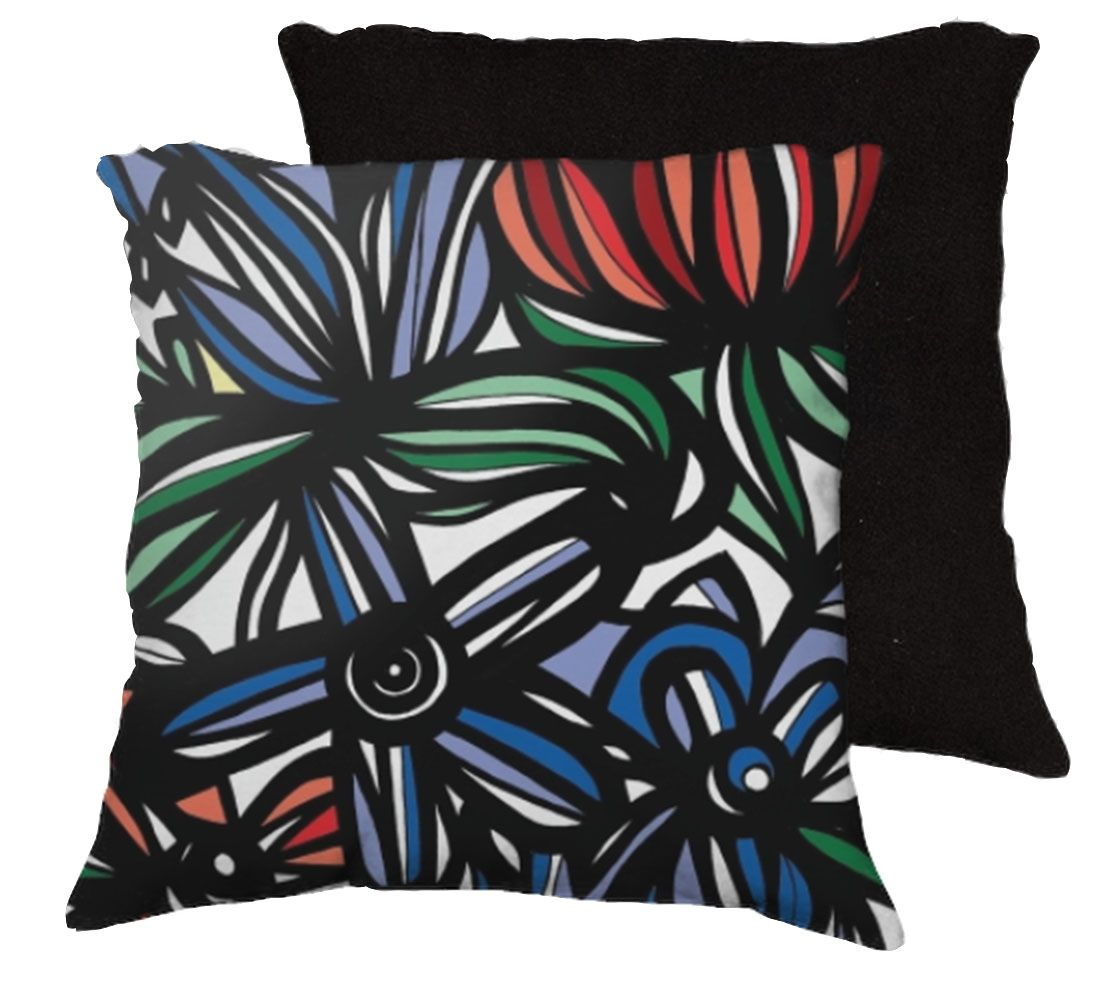 22x22 Matelic Red Blue Green Pillow Flowers Floral Botanical Cover Cushion Case Throw For Sale ...