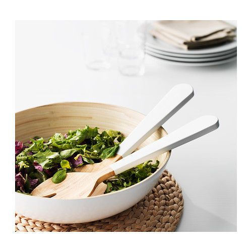 ikea gripande 2 piece salad server set bamboo white fork spoon beige new for sale item. Black Bedroom Furniture Sets. Home Design Ideas