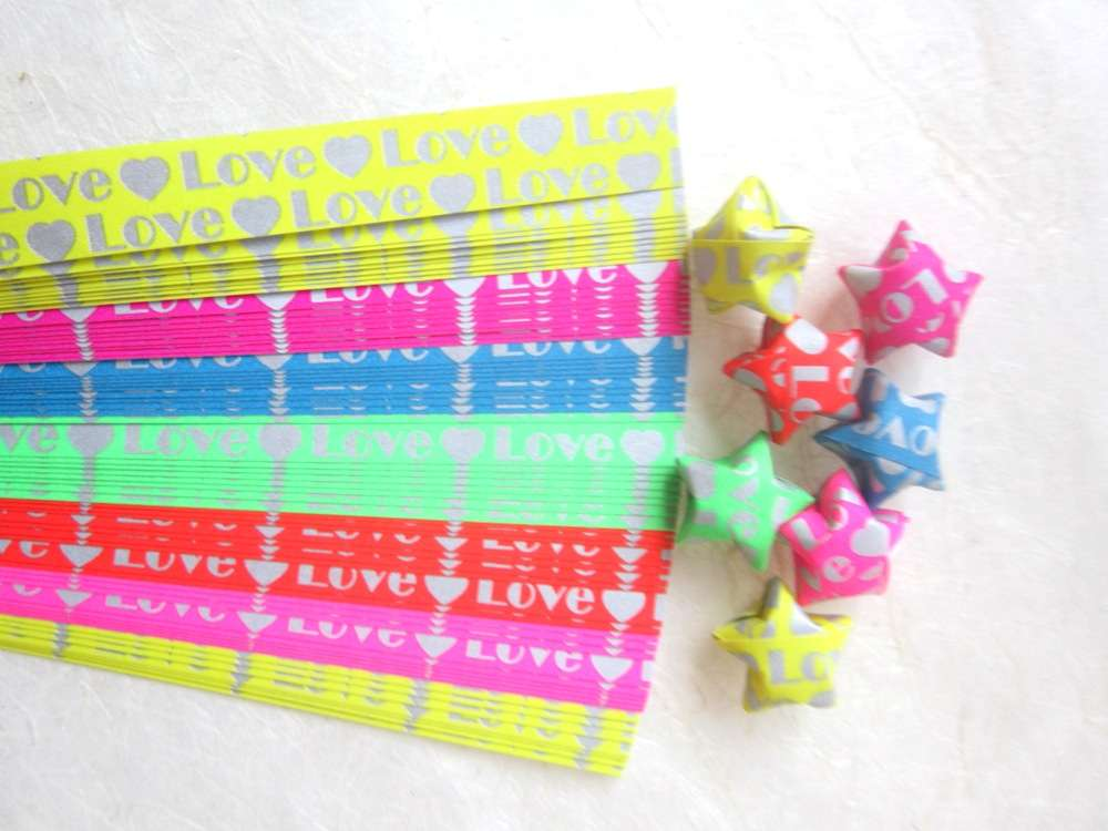 280 STRIPS ORIGAMI PAPER STAR FOLDING KIT LUCKY WISH HEART MULTI COLOR 7mm