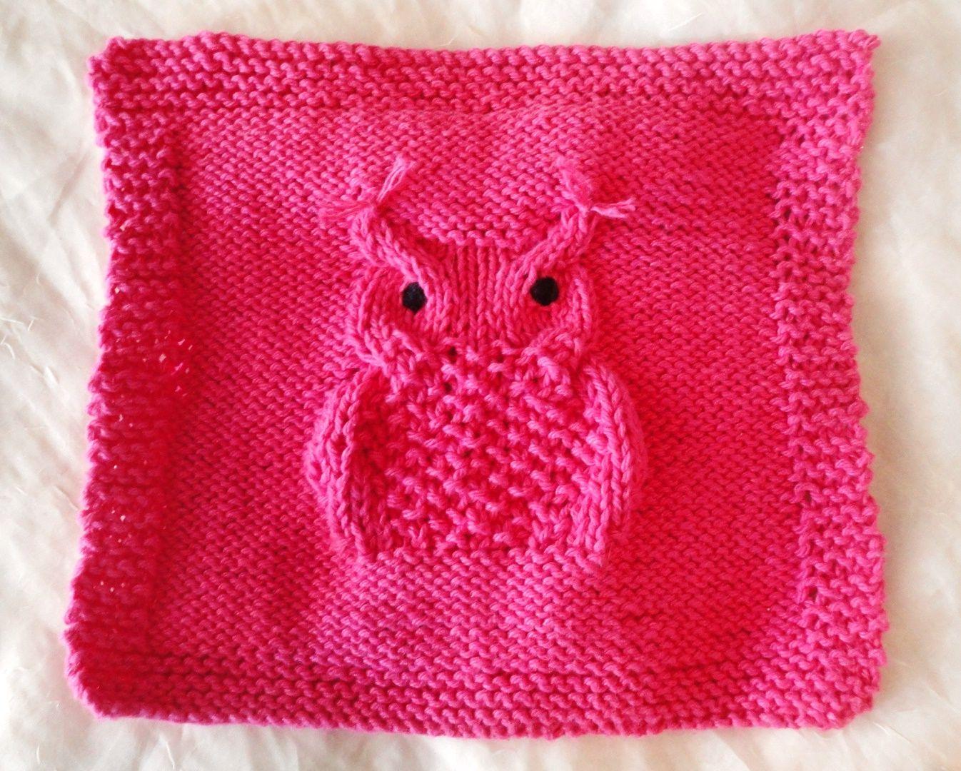 Dish Cloth Knitting Pattern Hootie Hoo Owl Pdf File For