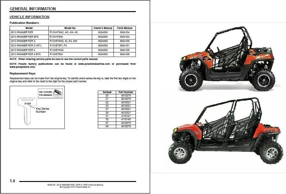 2013 polaris ranger rzr    rzr s    rzr 4 800 service repair