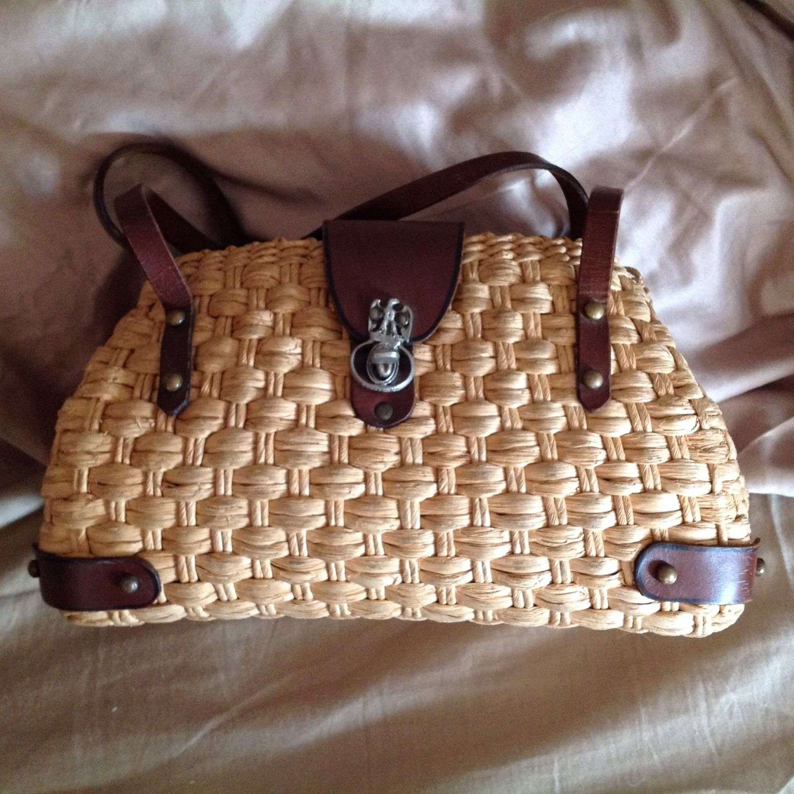 Vintage Straw And Leather Purse