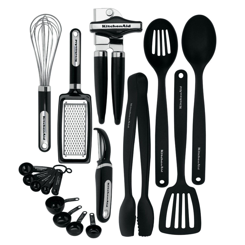 NEW KitchenAid Cooking Utensils Tools Gadget Kitchen Set 17 piece Black