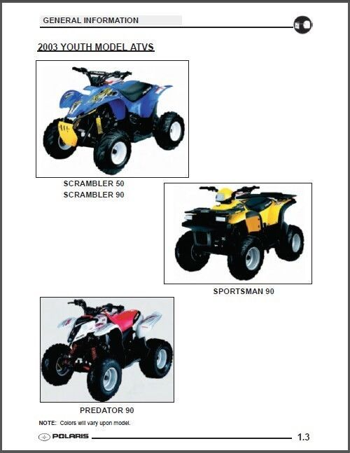2003 polaris scrambler 50 90 predator sportsman 90 service rh unisquare com 2003 Sportsman 90 Repair Manual 2003 Sportsman 90 Repair Manual