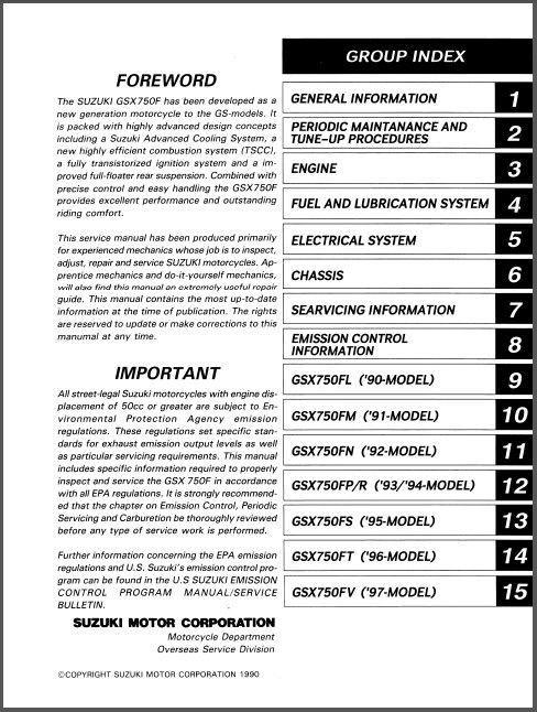 89-97 Suzuki GSX750F Katana Service Repair Workshop Manual CD .. GSX ...