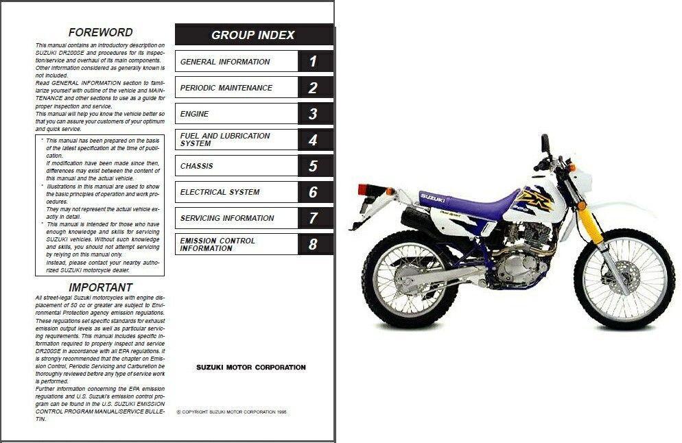 1996 2009 suzuki dr200se repair service manual cd dr200 dr 200 se rh unisquare com Suzuki DR200SE MPG Suzuki DR200SE MPG