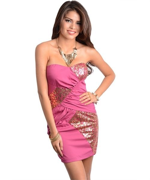 Sweetheart fuchsia gold party cocktail dress s m l for for Fraga s sweetheart motors