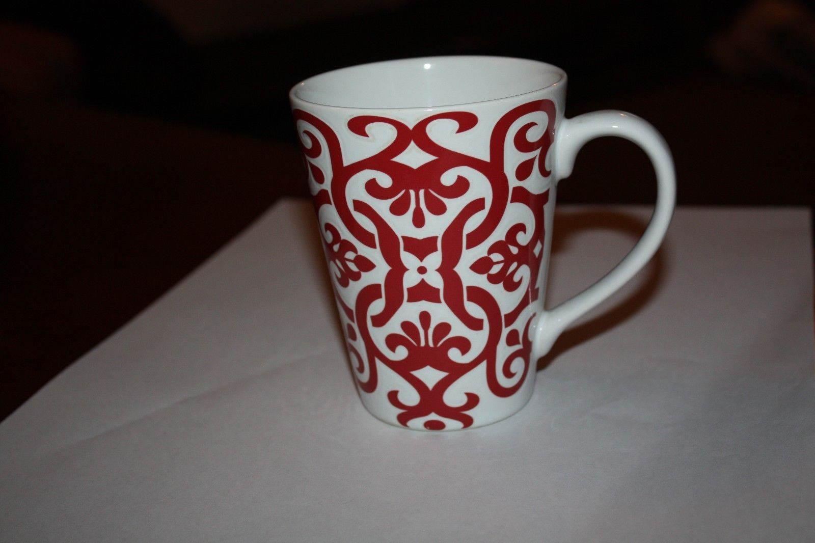 ROSCHER TUZANI Red & White Scroll Coffee Cup Mug For Sale - Item ...