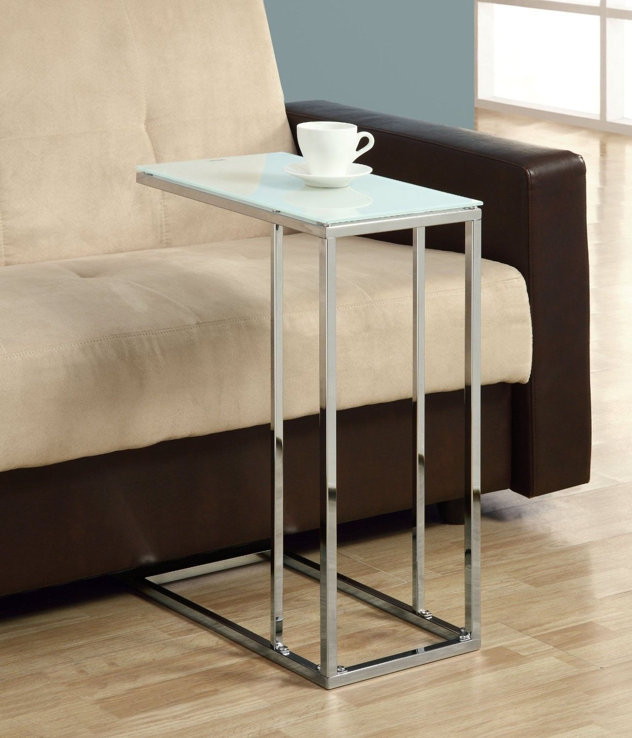 Snack Table Glass Top Chrome Base For Eating Coffee Tea Tv Coaster Contemporary