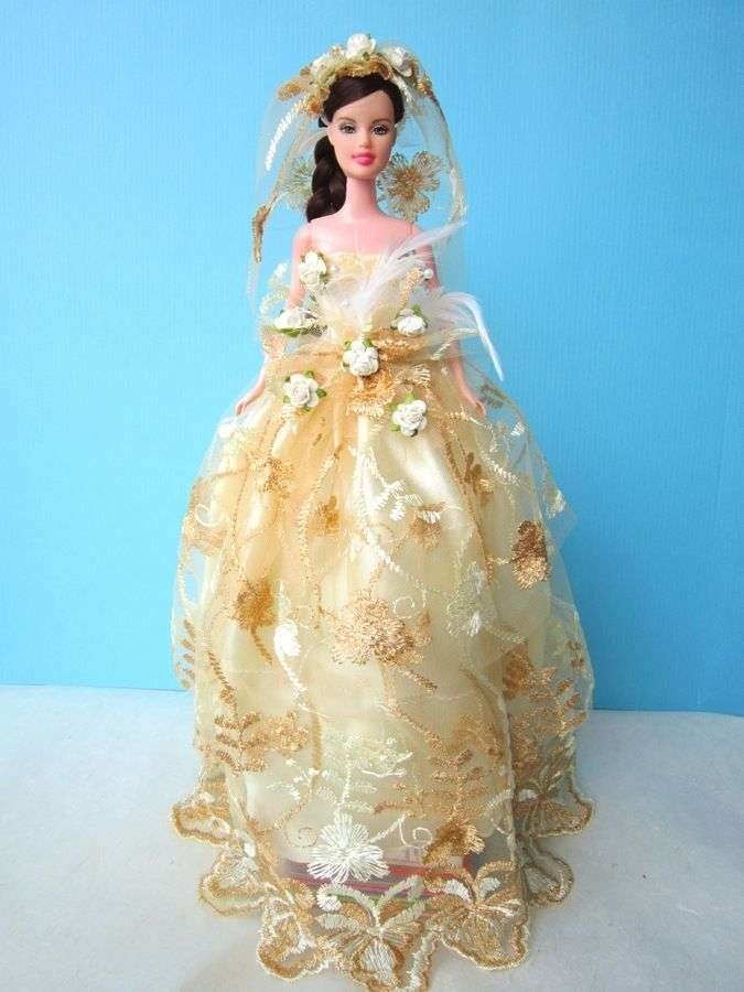 WEDDING GOWN PARTY YELLOW DRESS UP HANDMADM CLOTHES COSTUME FOR ...