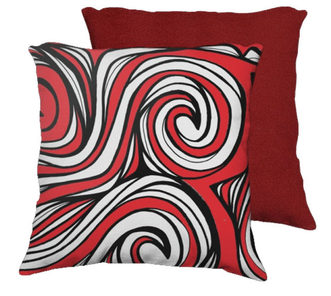 Red And White Throw Pillow Covers : Faunce 18X18 Red White Black Red Back Cushion Case Throw Pillow Cover 631 Art For Sale - Item ...